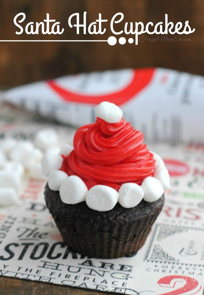 Holiday Cupcakes Decorating Ideas Part - 19: Here Is Another Fun Christmas Cupcake Decorating Idea! These Santa Hat  Cupcakes Really Easy To