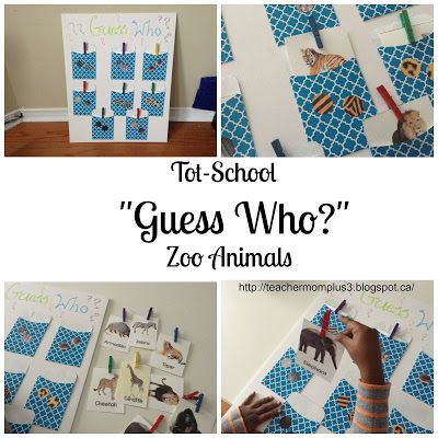 "TeacherMomPlus3: Tot-School ""Guess Who"" Zoo Animals"