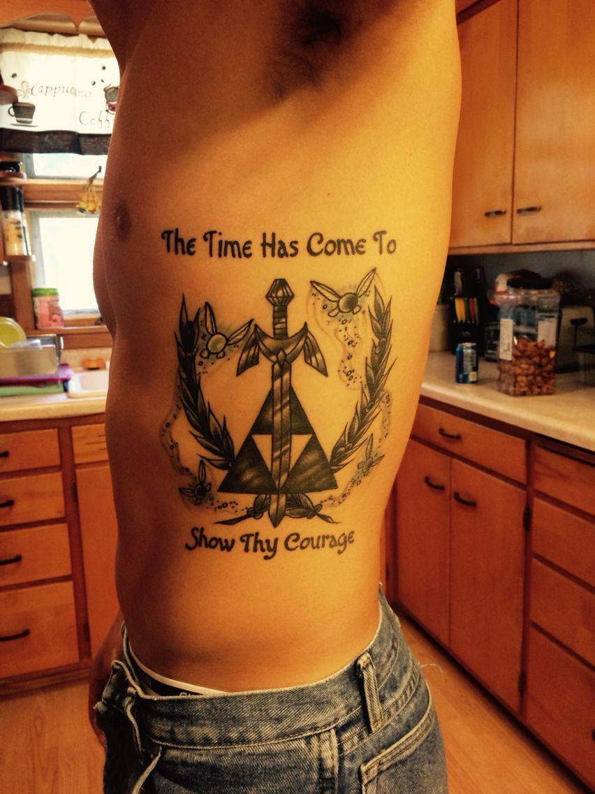 """Heartbeat Zelda, triforce tattoo with blue """"hey listen!l"""