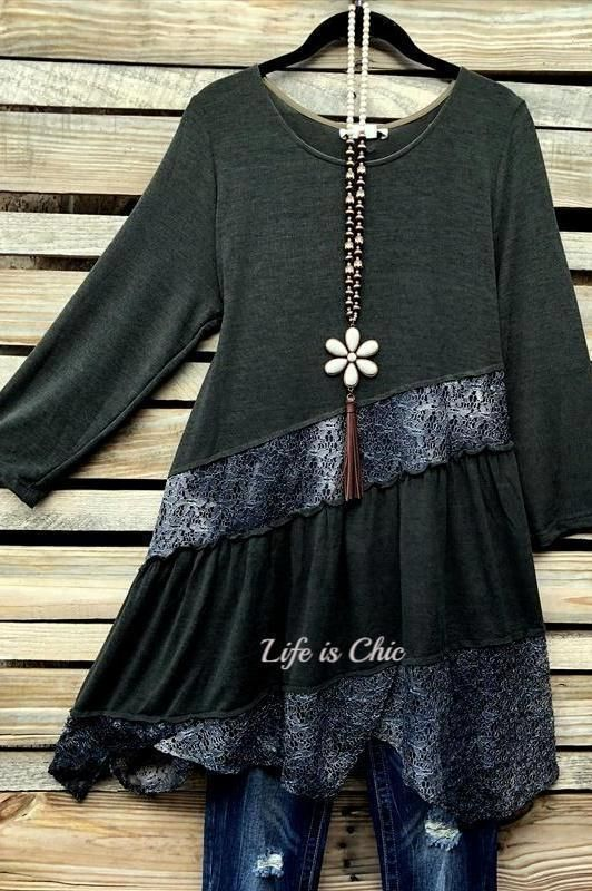 """Photo of EVERYDAY BEAUTY """"ONE OF A KIND"""" STYLISH LACE TUNIC IN FOREST GREEN"""