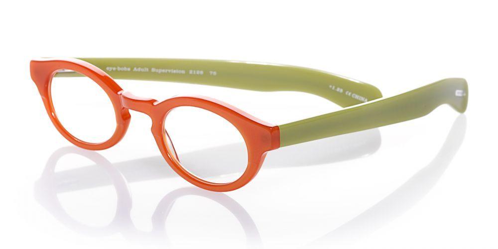 For grown-ups gone wild! eyebobs 'Adult Supervision' reader in orange/green.