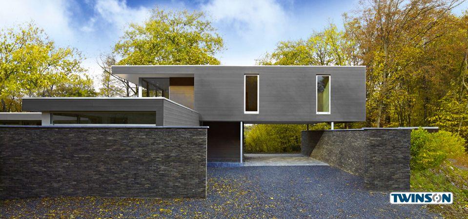 Moderne fassadenverkleidung aus holz  Fassadengestaltung mit Profilen aus dem Holz ...