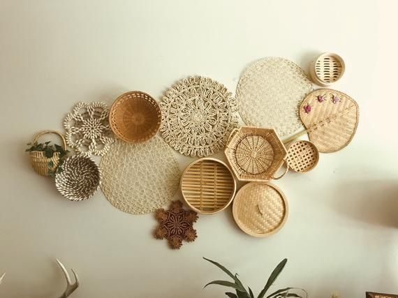 Photo of Vintage Basket Wall Bohemian Home Decor Boho Folk Mod Mid Century Hippie Gypsy Baskets Woven Wicker