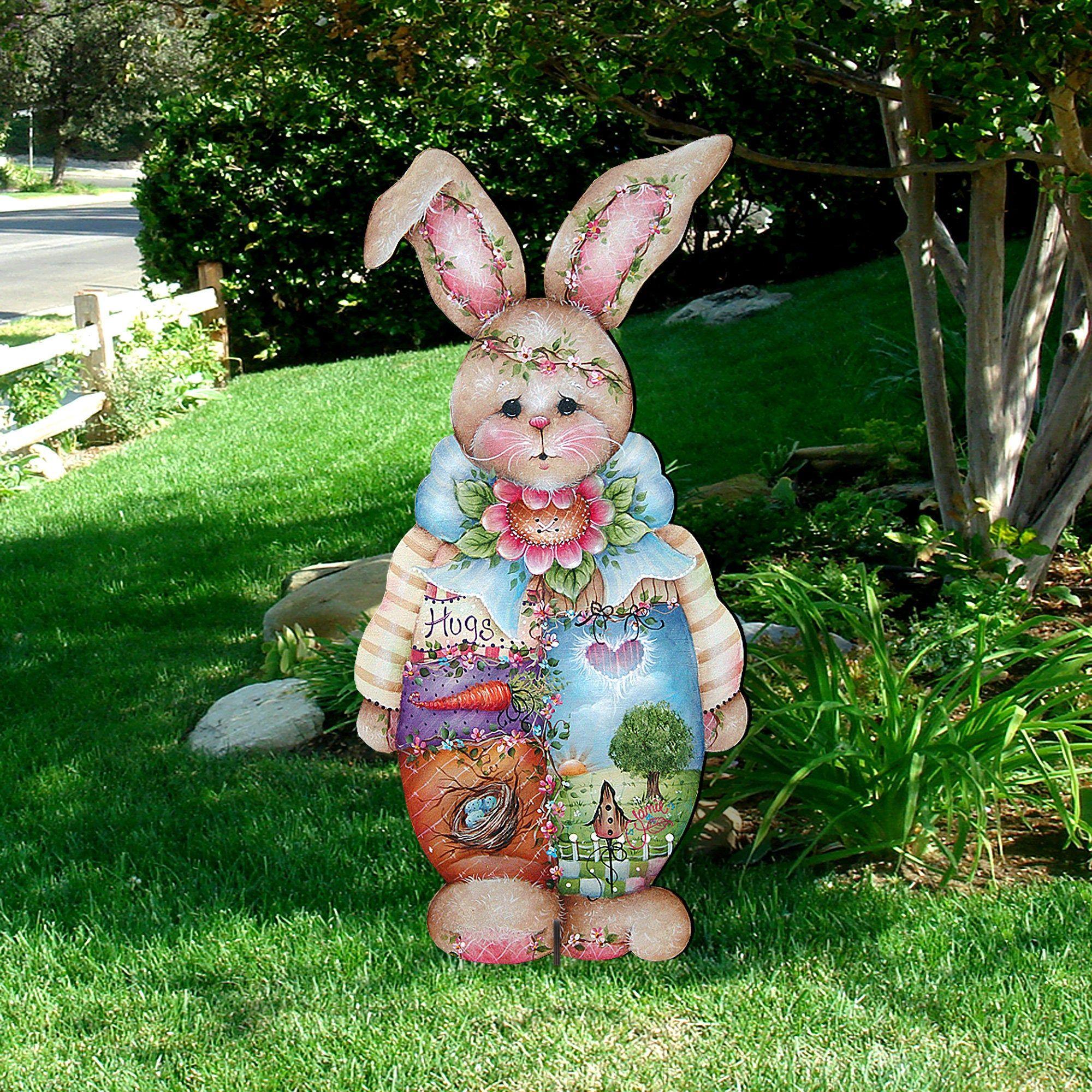 Easter Bunny Rabbit with Chick Wooden Decorative Door Hanger #8144502H