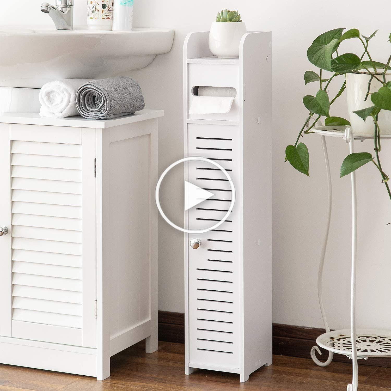 Kleine Badkamer Opslag Hoek Vloerkast Met Deuren En Planken Dunne Toilettafel Small Bathroom Storage Paper Towel Storage Bathroom Storage