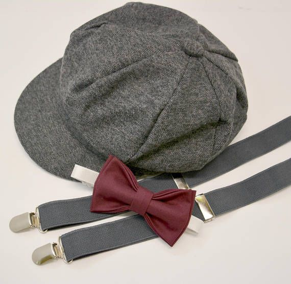 dbb922e05cd Bow Tie Suspenders Newsboy Cap Hat   Dark Wine Burgundy Bow