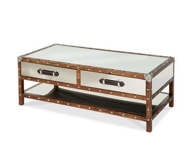 2 Drawers Nail Head Trim Shelf Base Rectangular Trunk Tail Coffee Table