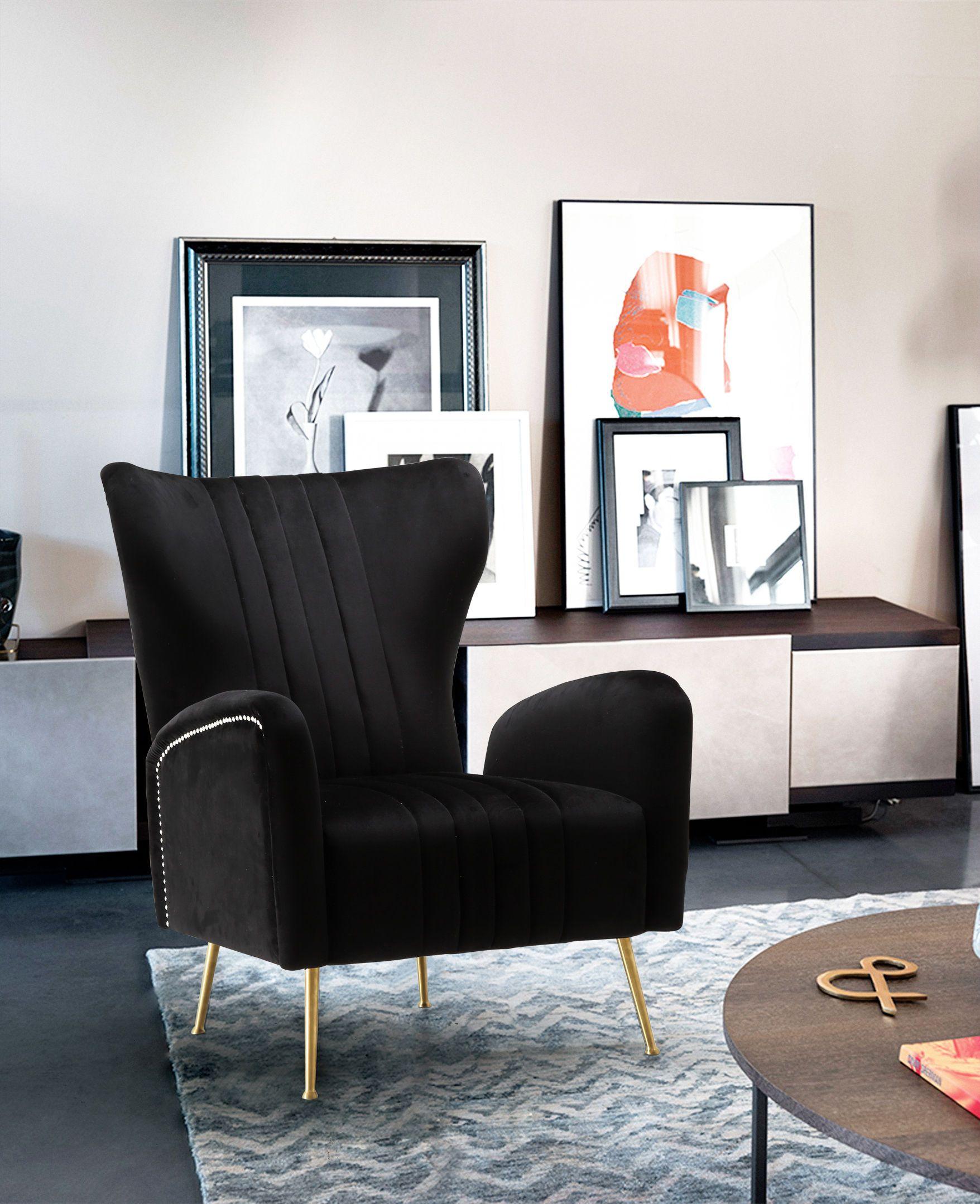 Best Meridian Opera Black Velvet Accent Chair W Golden Legs 400 x 300