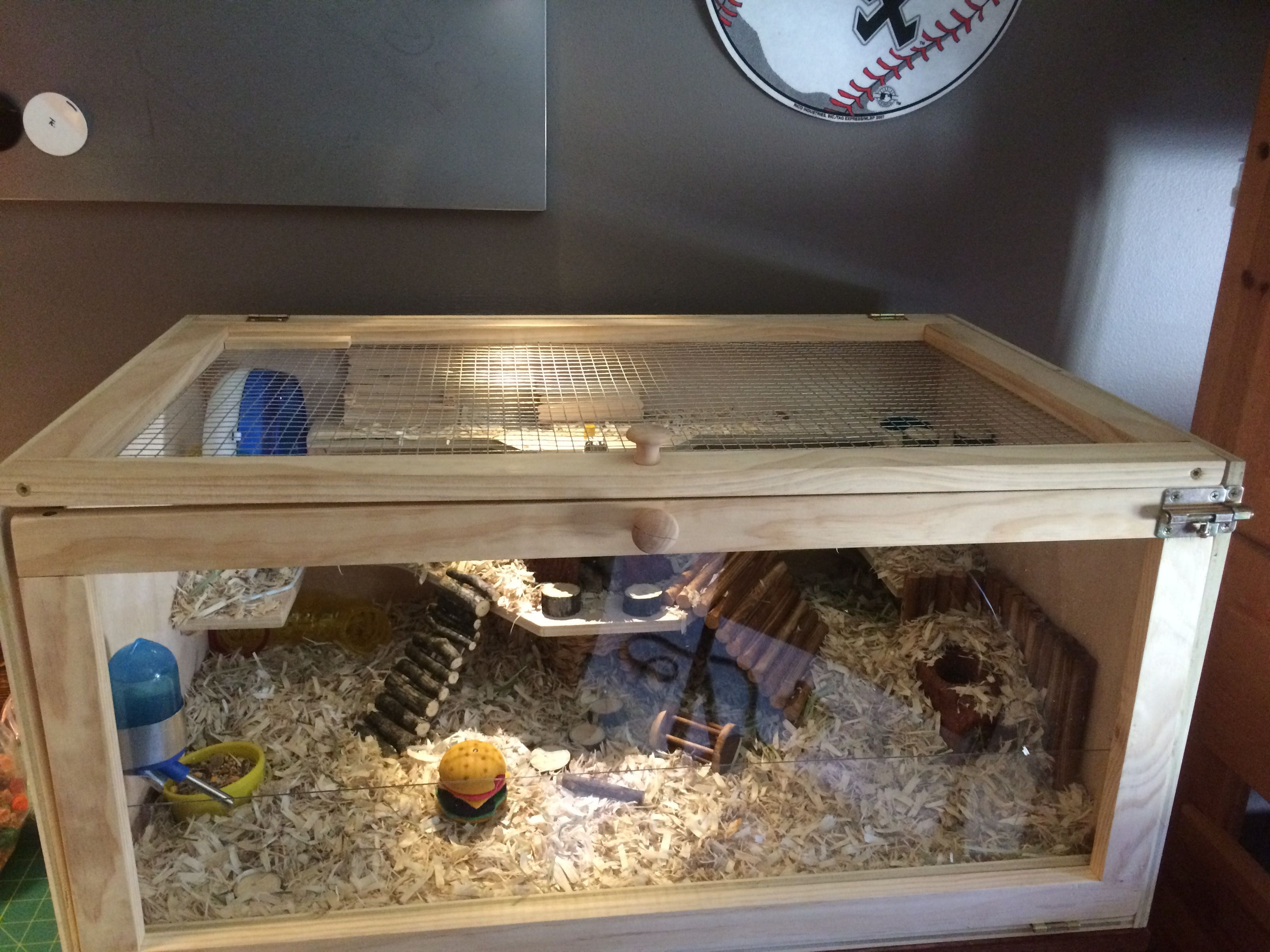 Diy Wood Hamster Cage 2 Door 2 Level Posted In Supplies Accessories My 10 Yr Old Son Just Loves His Hamste Hamster Cage Hamster Habitat Hamster Diy