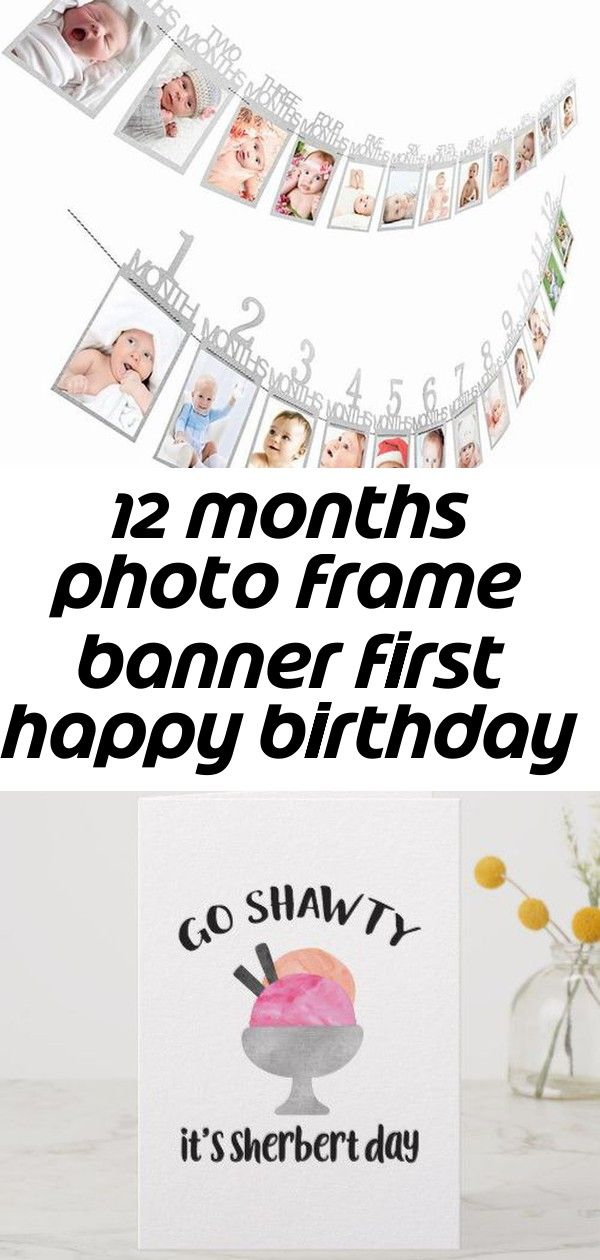 12 months photo frame banner first happy birthday decorations 1st baby boy girl my 1 one year part 2 #mermaidsign