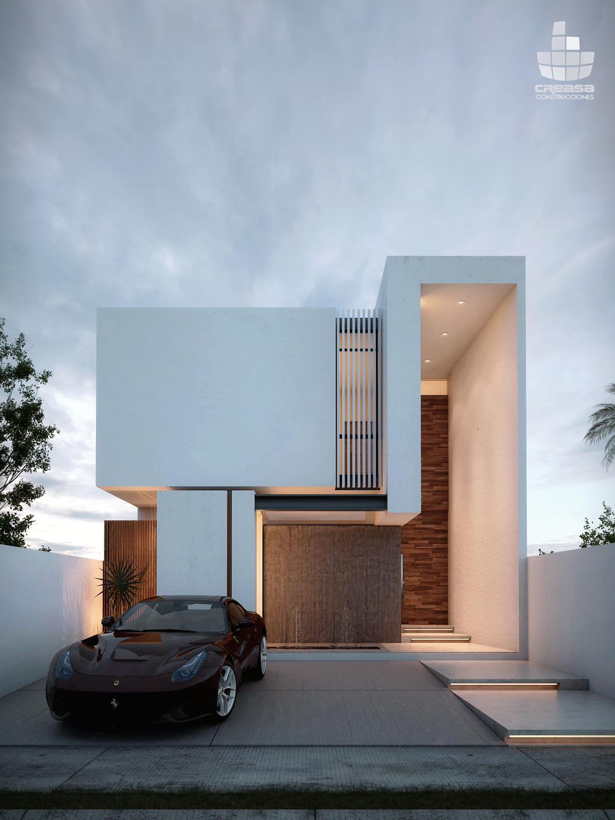 Puerta granada on behance renders arq en 2019 fachadas for Casa minimalista granada
