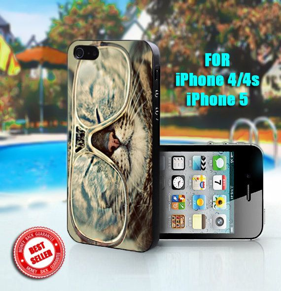 Kitty Cat Glasses  Print on Hard Case  Fit For iPhone by SingoEdan, $15.00