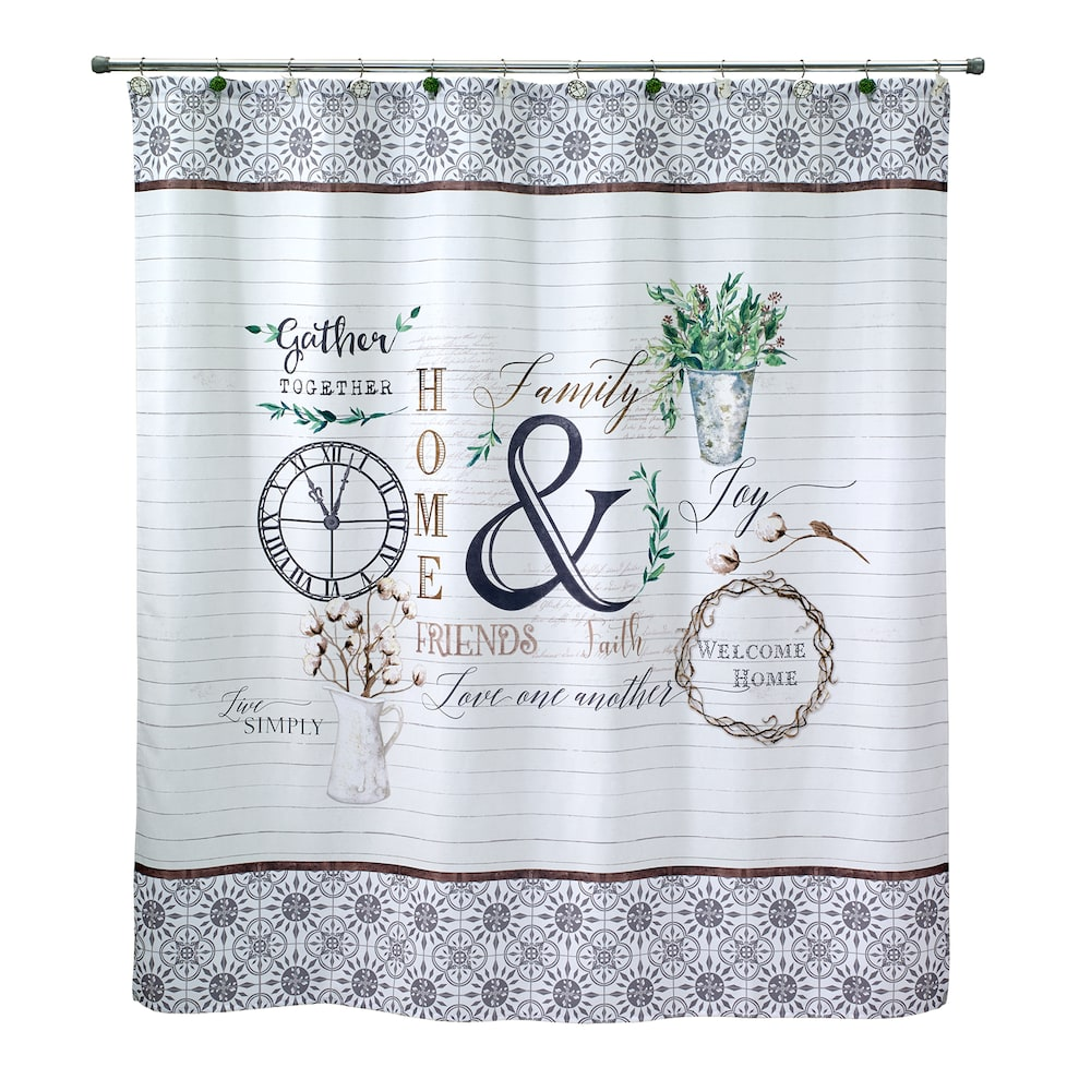 Avanti Modern Farmhouse Shower Curtain 72x70 Farmhouse Shower