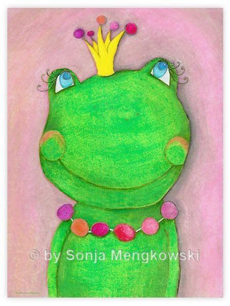 Kinderzimmer Bild Froschkönigin Malen Pastell Bilder