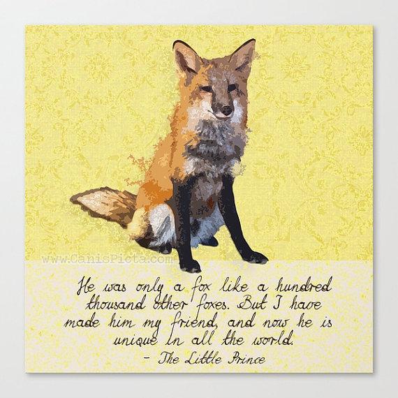 Fox The Little Prince Woodland Square 13x13 Pop Art Print Wall Home Decor Quote Yellow Orange Wildlife Children Nursery Neutral Kid Book