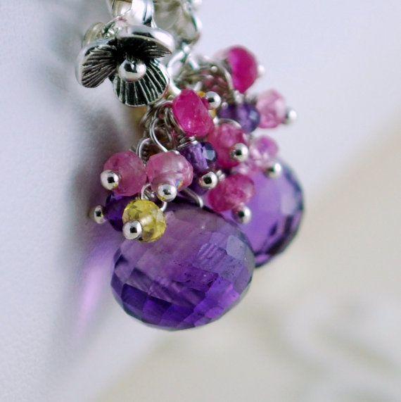 Amethyst Earrings Wedding Jewelry Genuine Rubies by livbridal, $236.00
