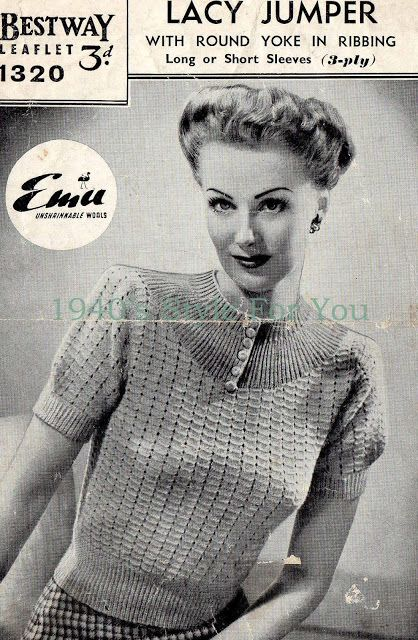 47364e2c0a5 Free 1940's Knitting Pattern - Lacy Jumper Blouse | Vintage Knits ...