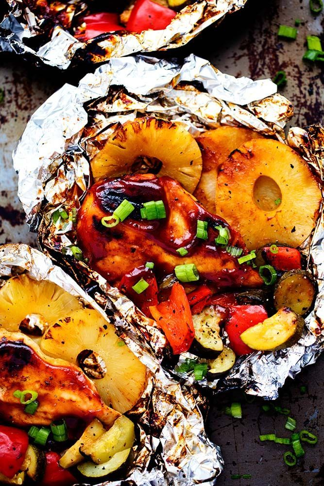 Grilled Hawaiian Barbecue Chicken in Foil #grillingrecipes