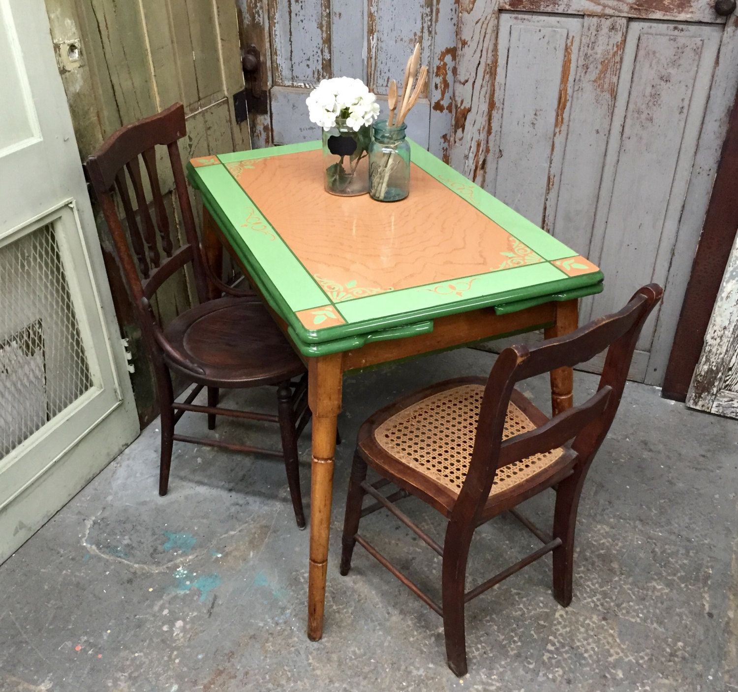 Enamel Top Table, Antique Kitchen Table, Farm Dining Table, Expandable Table,  Country Cottage Decor By VintageHipDecor On Etsy | Pinterest | Farm Dining  ...