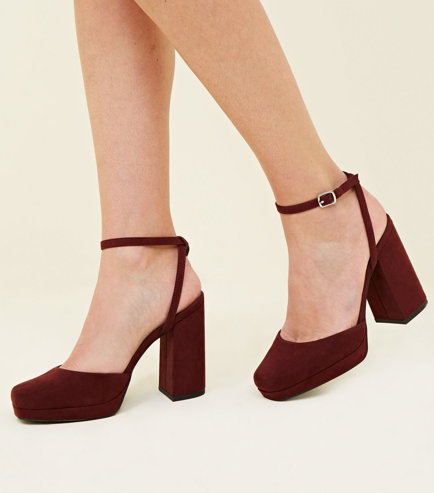 29a76c575a8 Wide Fit Black Suedette Square Toe Heels in 2019