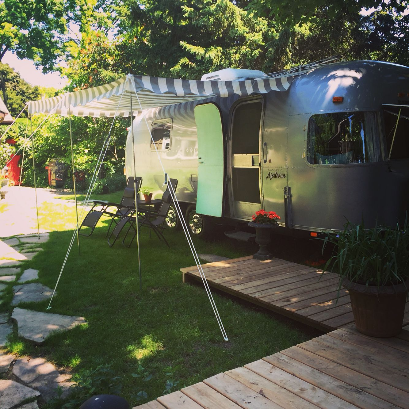 backyard camping with our airstream argosy trying out the new