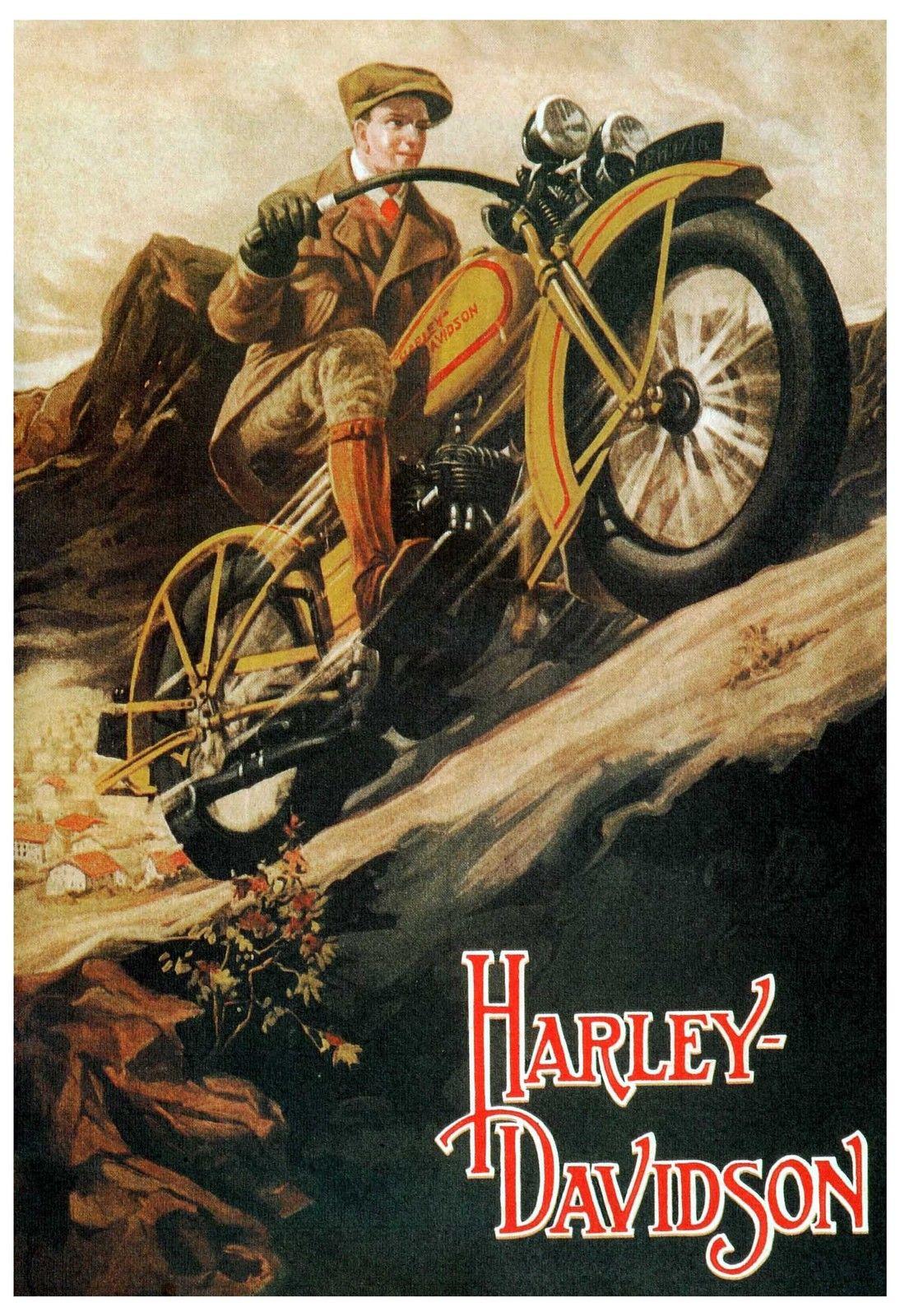 Motorcycle Poster Print Harley Davidson Vintage Style Poster Harley Davidson Posters Vintage Motorcycle Posters Harley Davidson Art