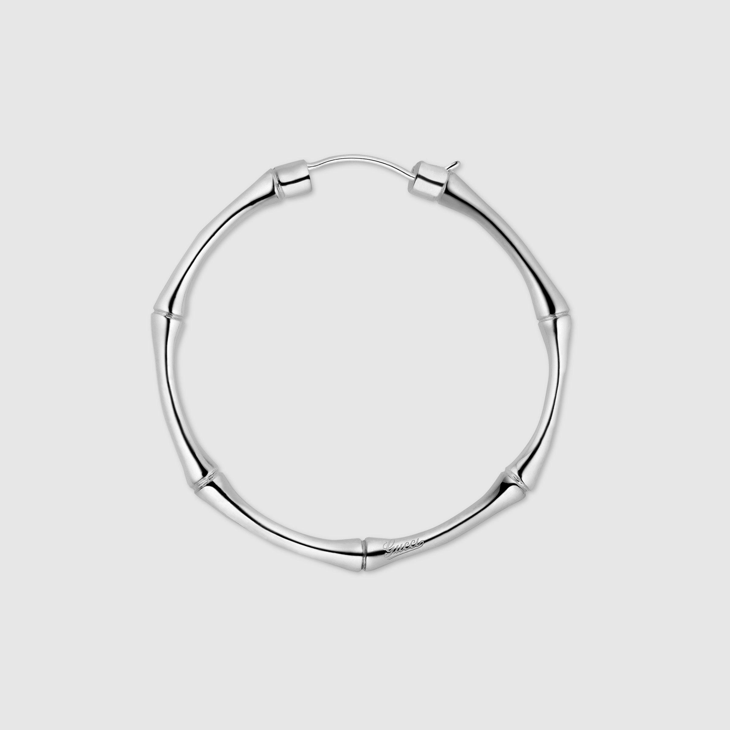 Gucci Women Silver Bamboo Hoop Earrings 272651j84008106