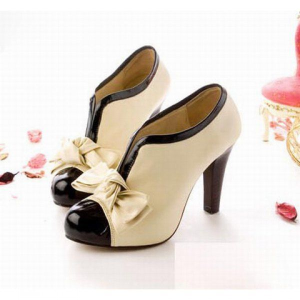 Zapatos beige Tacón de aguja vintage para mujer jBdnrrA