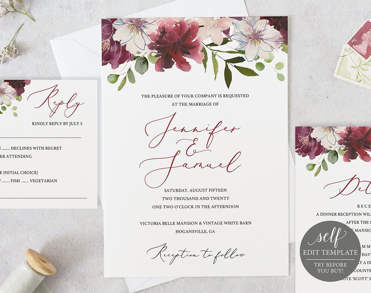 Wedding Invitation Template Instant Download Editable Etsy Wedding Invitation Templates Free Wedding Invitation Templates Wedding Invitation Card Template