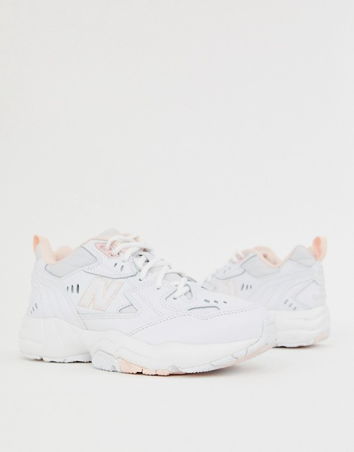 New Balance 608 white and pink chunky trainers | Sneakers ...