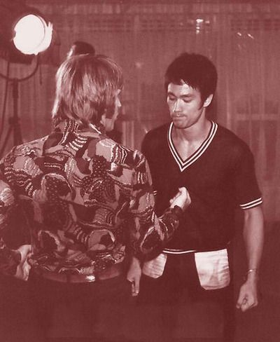 "Bruce Lee and Chuck Norris. Behind the scene, from ""Way of the Dragon"" #McDojo #McDojoLife www.Facebook.com/McDojoLife"