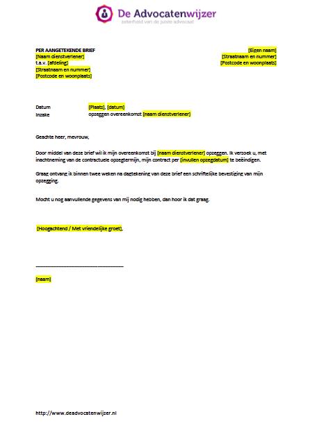 Voorbeeldbrief opzeggen overeenkomst (gratis download) | De