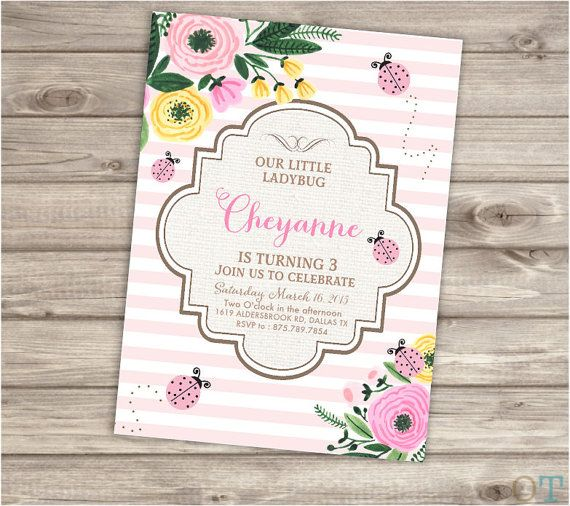 Pink lady bug birthday printable invitations vintage flowers summer pink lady bug birthday printable invitations vintage flowers summer burlap rustic simple theme party girl first filmwisefo Gallery