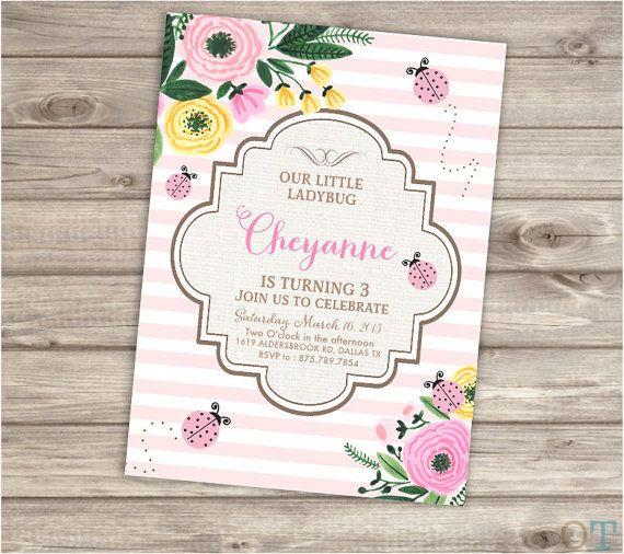 Pink Lady Bug Birthday Printable Invitations Vintage Flowers - birthday template invitations