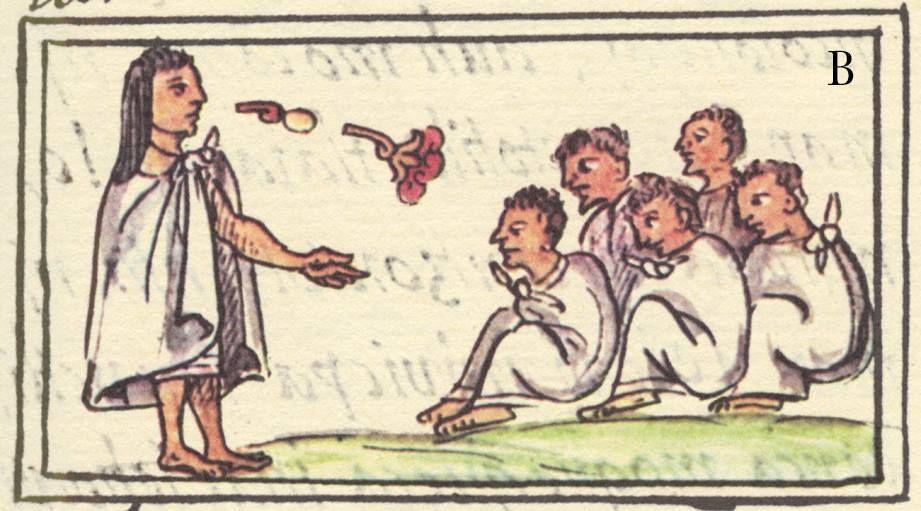 Amonestaciones del sacerdote Tepan Teohuatzin a los estudiantes del calmécac. Códice Florentino, Lib. II, f. 128r. Digitalización: Raíces