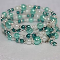 Memory Wire Beaded Bracelet Wrist Wrap Glass Beads and Glass Pearls Aqua and Teal Dream Womens Jewelry