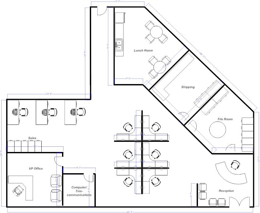 Open Office Layout Example Smartdraw Office Floor Plan Open Office Layout Office Layout