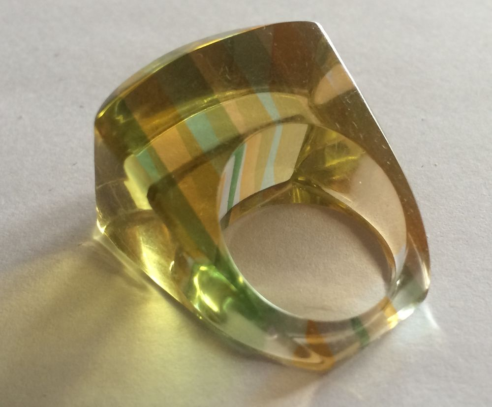Vintage Lucite Rainbow Ring 1960s 1970s Hippy Yellow & Green Size 8 #Unbranded