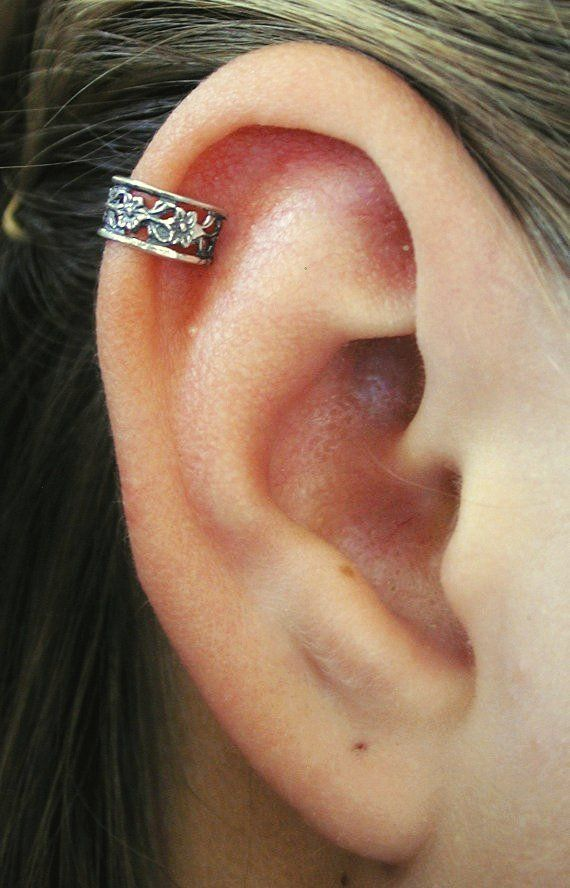pierced floral lace cartilage ear cuff sterling silver. Black Bedroom Furniture Sets. Home Design Ideas