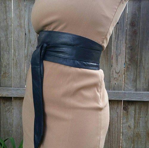 f326566b5 Blue leather obi belt - dark blue wide wrap belts - single side Obi belt -  tie belts - wraparounds - fashion belts