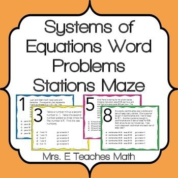 system of equations word problems stations maze activity word problems equation and maze. Black Bedroom Furniture Sets. Home Design Ideas