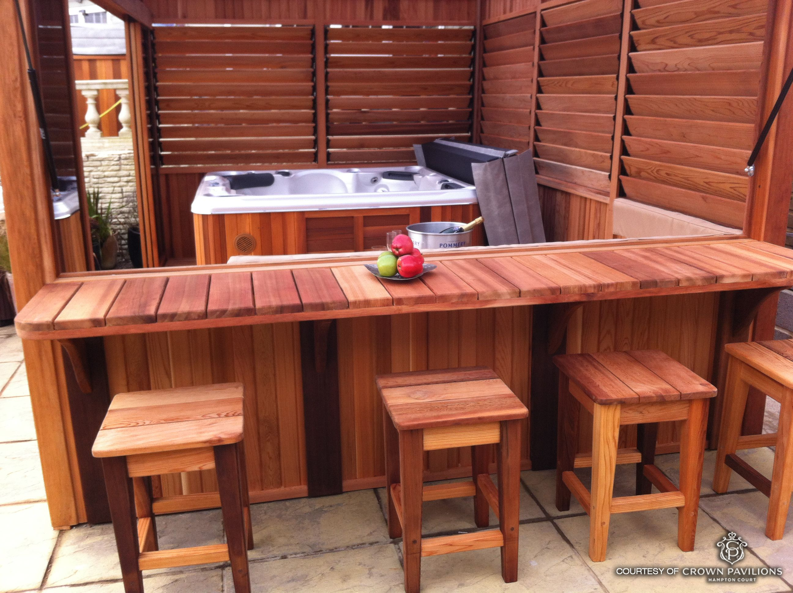 Inexpensive Diy Outdoor Hot Tub Enclosure With Bar And Louvered Panels For Extra Controlled Privacy Photo Courtesy Of Crown Pavilions
