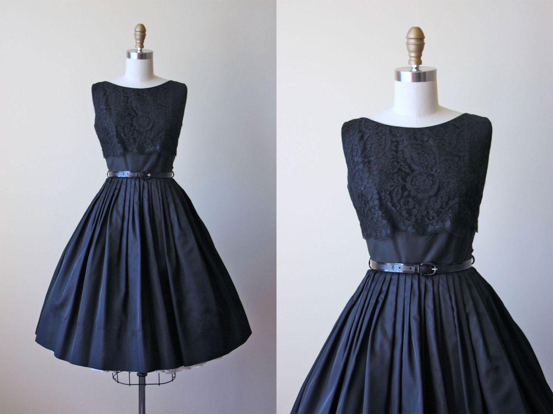 1950s Dress Vintage 50s Party Dress Black Silk Lace Etsy Dresses Vintage Dresses 1950s Party Dresses [ 1125 x 1500 Pixel ]
