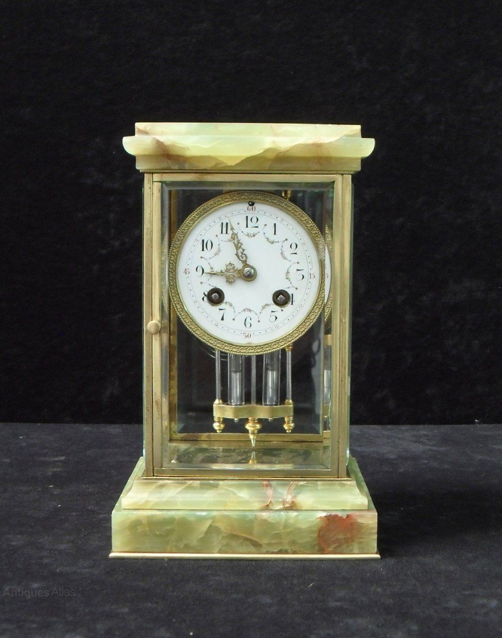 Antiques Atlas French Onyx And Brass Four Glass Mantel Clock