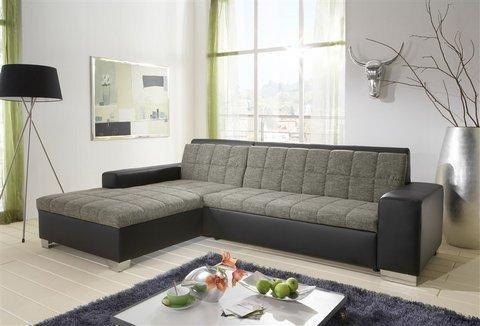 Polsterecke, wahlweise mit Bettfunktion Graue Ledersofas - wohnzimmer grau silber