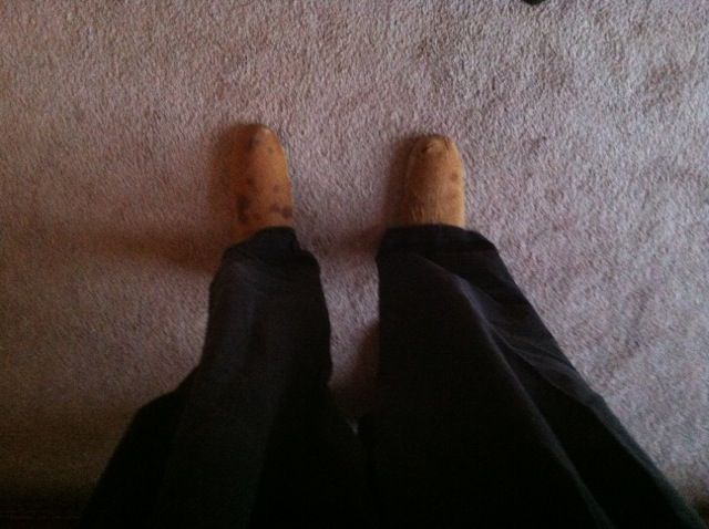 Bread was too hard to eat so I made a pair of shoes out of the loaves. REAL hush-puppies! No more loafing around!