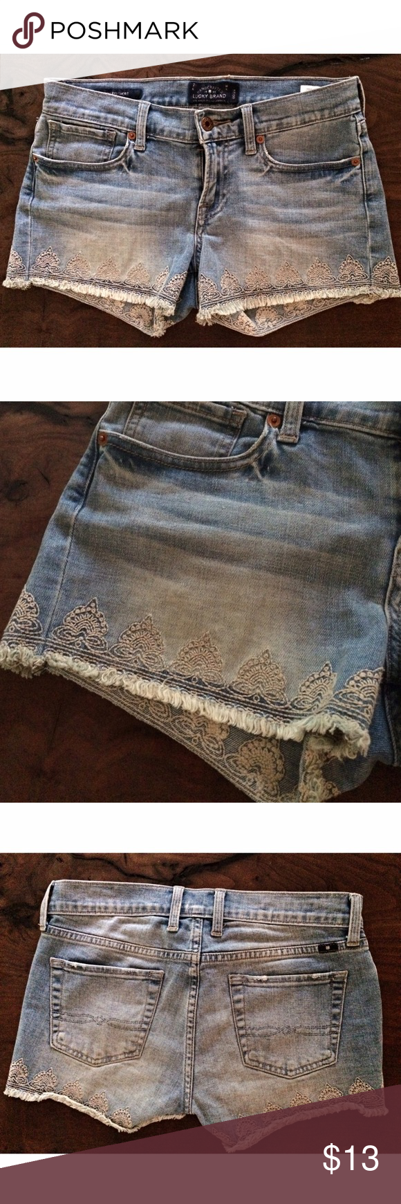 "Lucky Brand Malibu Embroidered Cut Off Short In excellent condition cut off short from Lucky Brand Jean in size 24, 00. No flaws. Measure about 13"" length, 15"" waist laying flat, 8"" rise. ❌No trades or modeling. Always open to reasonable offers though. Thank you‼️ Lucky Brand Shorts Jean Shorts"