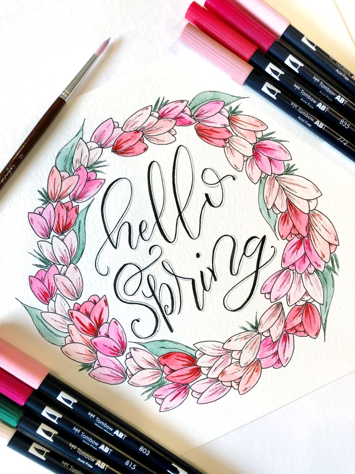 Photo of Spring Watercolor Wreath With Dual Brush Pens – Tombow USA Blog