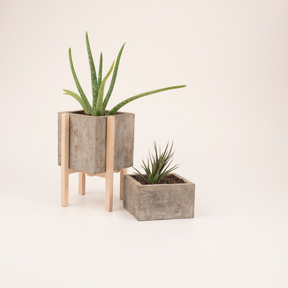 modern concrete planter and stand by clinefab on etsy rockite pinterest concrete planters and modern