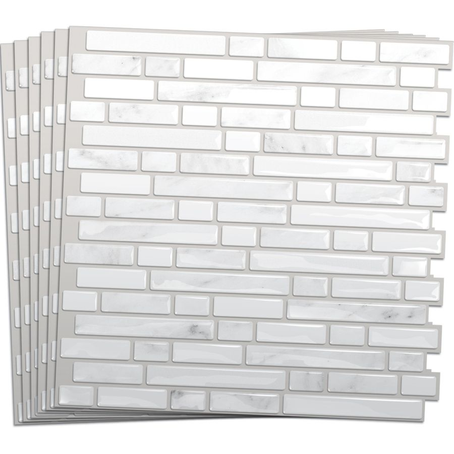 Shop Smart Tiles 6 Pack White Silver Composite Vinyl
